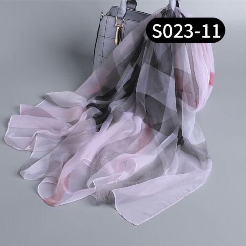 "Women 100/% Pure Silk Women Large Long Scarf Shawl Check Style 70/""*51/"""