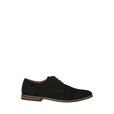 NEW Blaq Wayne Perforated Suede Lace Up Charcoal