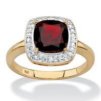 14k Gold Over Sterling Silver Garnet Diamond Accent Ring Size 6 7 8 9 10