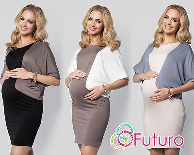 Maternity Women's Clothing Punctual Damen Schwangerschaft Zwei Farben Minikleid Fledermausärmel Rundhals Plus Complete In Specifications
