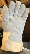 1 Pair Gauntlet Industrial Gloves Leather Palm Size L