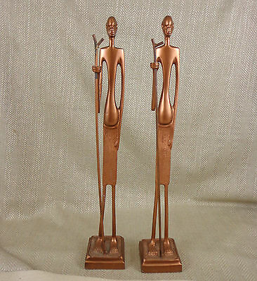 Pair of African Statues Figures Modern Contemporary Bronzed Metal Zulu Warrior