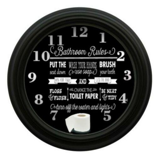 Bathroom Rules Clock Bathroom Decor Wall Decor Wash Room Home Decor