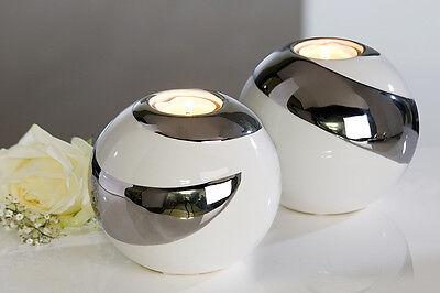 Extravagante und Moderne Teelichtleuchte CREOLE aus Keramik weiß/silber D 12 cm