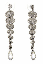 Swarovski Elements Crystal Disks Drop Pierced Earrings Rhodium Plated 7149y