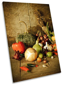 Kitchen Canvas Wall Art vegetables herbs fruit kitchen framed canvas wall art picture