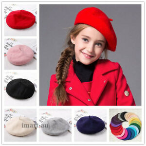 12a95787fe541 Kids Girls Ladies Acrylic Wool French Beret Newsboy Hat Cap Winter ...