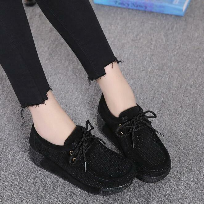 Fashion Ladies Wedge Heels Hollow out Moccasins Slip on Casual Comfort Shoes UK