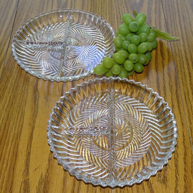 Vintage Depression Glass Herringbone Pattern Pressed Clear ...