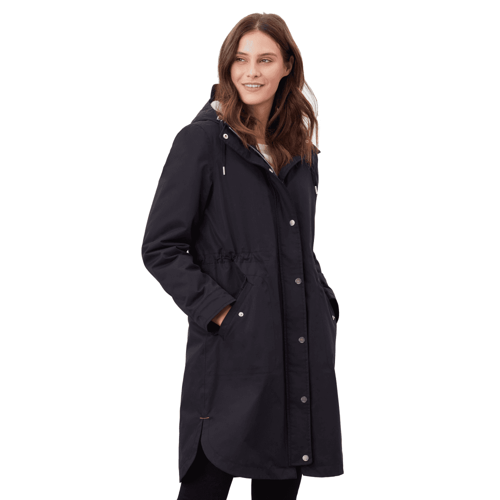 Joules Loxley Cosy Womens Waterproof Padded Raincoat – Black