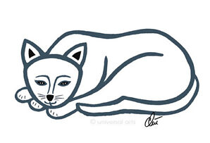 JACQUELINE DITT - Mr. Cat - outline Original Grafik signiert Bilder Katze Kater