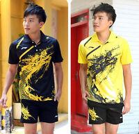 Arrival Li Ning Men's Table Tennis Clothing/badminton Set Shirt+shorts 1036a