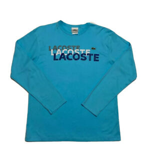 Lacoste-Mens-Graphic-T-Shirt-Blue-Crew-Neck-Long-Sleeve-Spell-Out-Tee-M