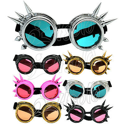 CYBER GOGGLES WELDING VINTAGE VICTORIAN STEAMPUNK GOTH ANTIQUE COSPLAY UV lens