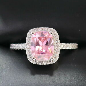 Sparkling-Princess-Pink-Sapphire-Ring-Women-Anniversary-Jewelry-14K-White-Gold