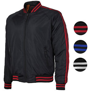 38a20e6d3 Details about Men's Water Resistant Slim Fit Striped Zip Up Flight Bomber  Jacket TONY