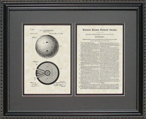 Patent Art - Bowling Ball - Bowler Artwork Wall Hanging Gift D1103
