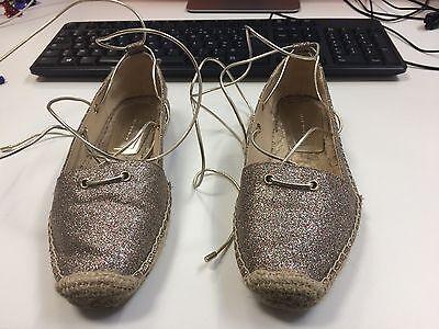 Zara Con Cordones Alpargata Oro Brillo Size UK 3