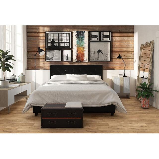 3 Piece King Size Bedroom Set Furniture Modern Platform Bed 2 Nightstands  Black