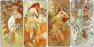 Girls four seasons A. Mucha Tile Mural Bathroom Wall Backsplash Marble Ceramic