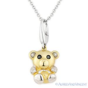 0,05 ct Diamante Oso De Peluche Animal encanto Collar Colgante 14k Amarillo Y Oro Blanco