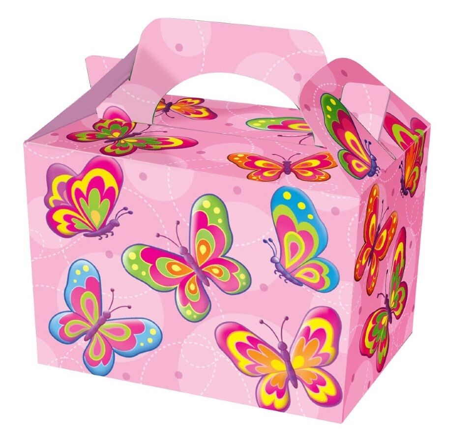 75 Girls Pink Butterfly Food Boxes  Picnic Carry Meal Box Birthday Party Plate