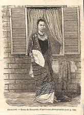 BIRMANIE BURMA DAME DE RANGOON GRAVURE IMAGE 1884