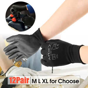 12-Pairs-PU-Nitrile-Coated-Safety-Work-Gloves-Garden-Builders-Grip-Size