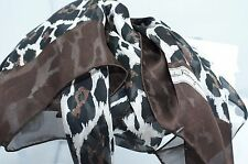 Salvatore Ferragamo Women's Silk Scarf Pone Logo Black 100% Silk Brown Shawl NWT