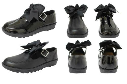 NEW GIRLS BACK TO SCHOOL BOW BLACK PATENT PU ANKLE STRAP MARY JANE SHOES