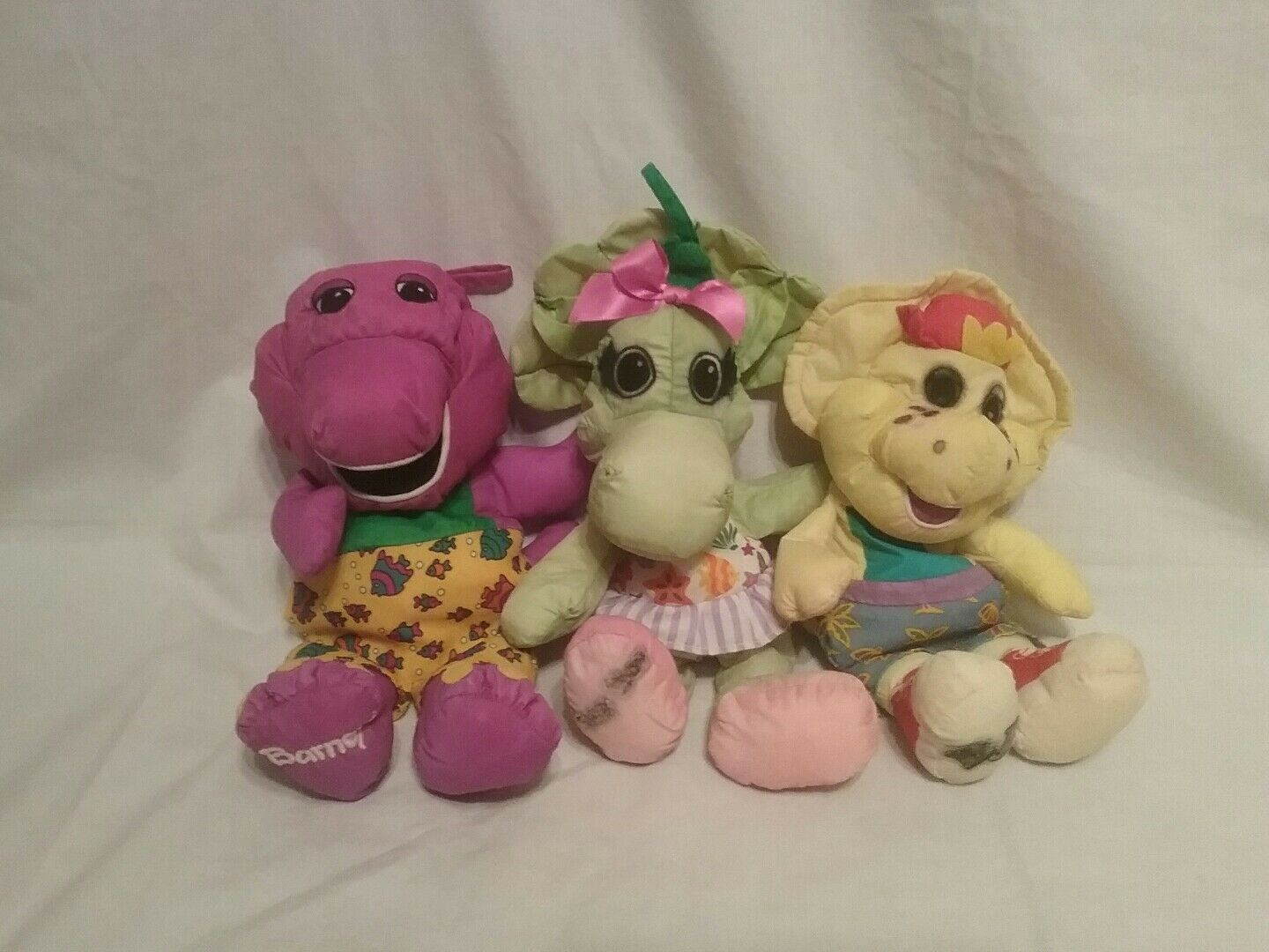 Barney, Babybob, BJ bath time plush lot of 3 Playskool, Hasbro water pal