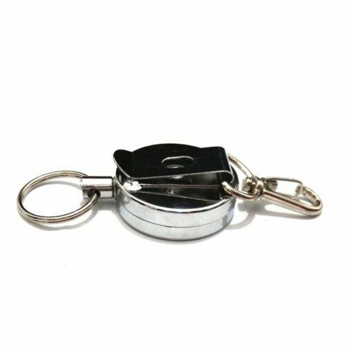 Key Ring Pull ID Badge Lanyard Name Tag Card Holder Recoil Reel Belt Metal Clip
