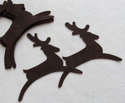 10 Brown Reindeer Wool Blend Felt Die Cuts