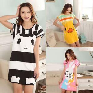 Women-Lady-Pajamas-Sets-Summer-Short-Sleeve-Cartoon-Print-Loose-Sleepwear-Cotton