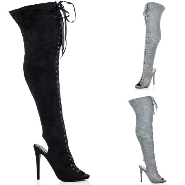 Womens Lace Up Peep Toe High Heel Stiletto Thigh Boots Sz 3-8