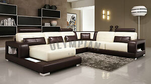 Modern Large Leather Sofa Corner Suite New Chocolate