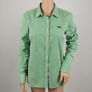 Superdry-Japon-WOMEN-039-S-L-S-Shirt-Top-Vert-amp-Blanc-Check-Medium-12