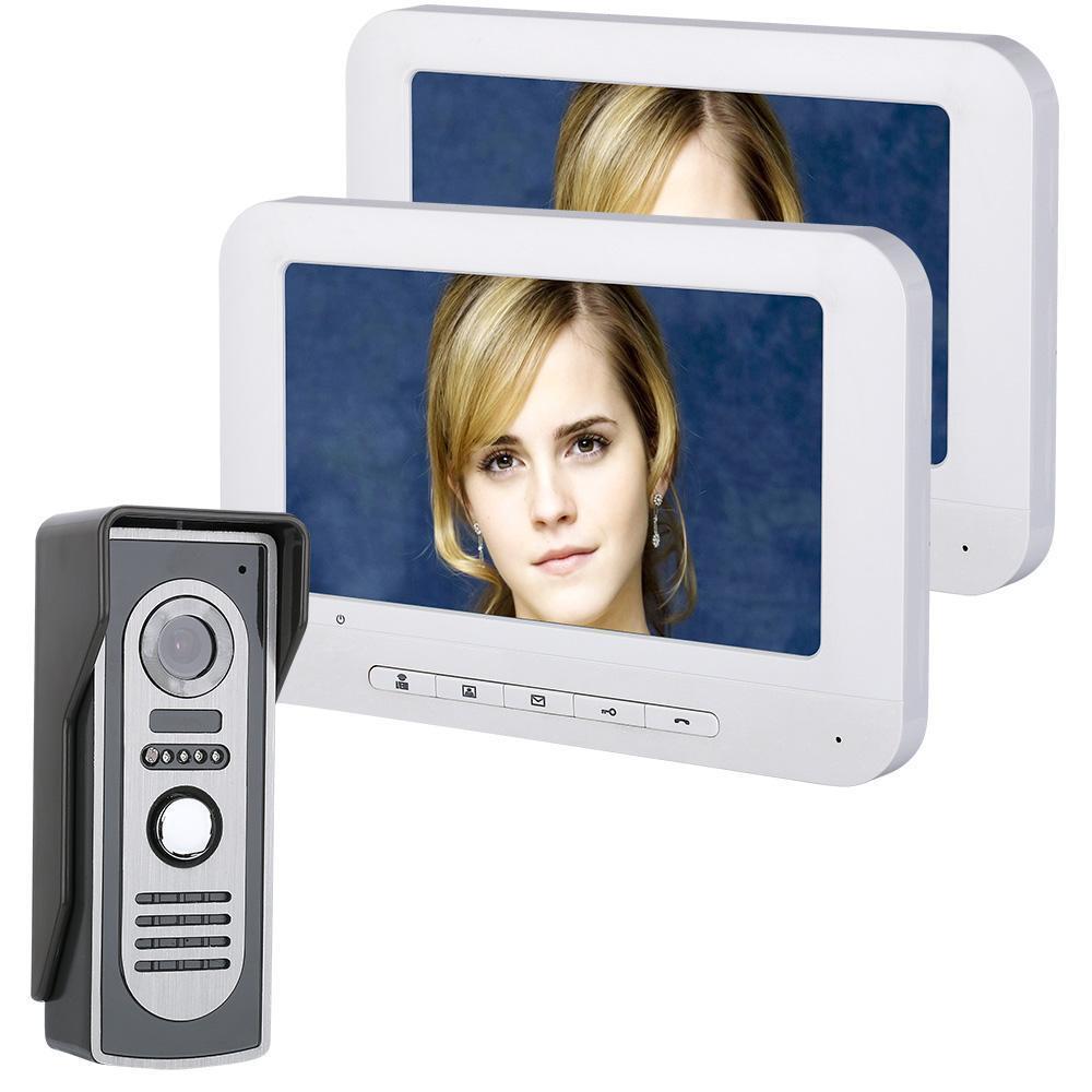 7 pulgadas TFT LCD Vídeo Puerta Teléfono Timbre Intercomunicador kits de alta densidad 700TVL Cámara al aire libre