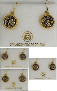 Damascene-Gold-Star-Design-Round-Drop-Earrings-by-Midas-of-Toledo-Spain-8102