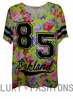 Womens/Ladies 85 Oakland Varsity T-shirt American Baseball Baggy Jersey Top 8-14