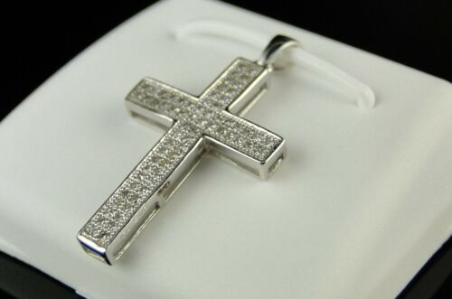 10K Homme Femme mini Diamond Cross Charm Pendentif .25 Ct