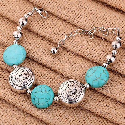 Special Charm Tibetan Silver Oblate Beaded Turquoise Chain Bracelet for Women