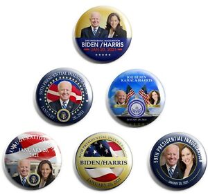Joe Biden/Kamala Harris inauguration Boutons Lot de 6 (Inaug-tout)