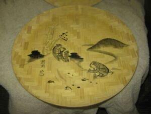 2-Vtg-Bamboo-Hand-Painted-Decorative-11-034-Plates-Monkeys-Mountains-Hillside-Asian