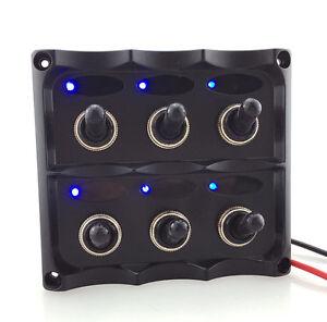 main power switch fuse box toggle switch fuse box blue led 6 gang on-off car marine boat toggle switch panel ...