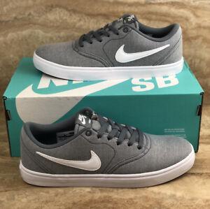 Nike Sb Check Solar Cnvs Grey White Mens Skateboarding Shoes Ebay