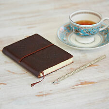 Fair Trade Handmade Small Embossed Leather Journal Notebook - Chocolate Colour