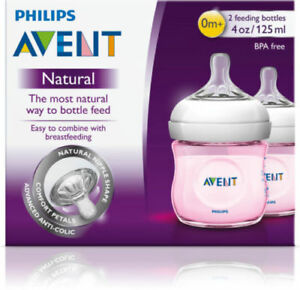 PHILIPS-AVENT-NATURAL-FEEDING-BOTTLES-2-TWIN-PACK-125ML-PINK-BABY-BREASTFEEDING