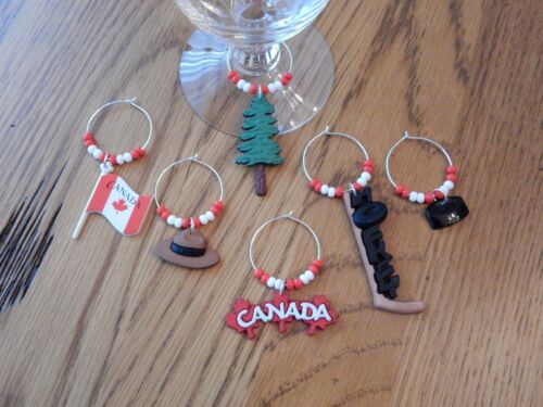 "/""CANADA/"" SET  OF 6 HAND CRAFTED WINE GLASS CHARMS"
