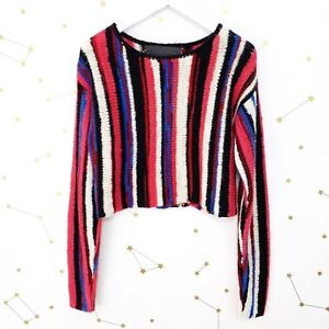 Details about The Elder Statesman Sweater Size Small S Pink Striped Cashmere Cropped Knitted